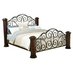Home Gallery Furniture for Standard King, King Poster Bed Iron Furniture, Furniture Design, Steel Bed Design, Iron Headboard, Cheap Living Room Sets, Cheap Furniture Stores, Discount Bedroom Furniture, Bed With Posts, Tuscan Design