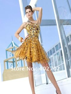 New-years-eve-hot-Sexy-Short-One-shoulder-Beaded-Gold-Organza-Prom-Dress.jpg 600×800 pixels