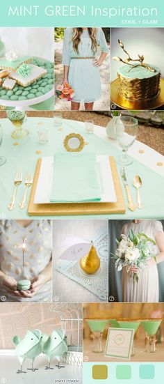 Mint green and gold wedding decor... Wedding ideas for brides, grooms, parents & planners ... https://itunes.apple.com/us/app/the-gold-wedding-planner/id498112599?ls=1=8 … plus how to organise an entire wedding ♥ The Gold Wedding Planner iPhone App ♥