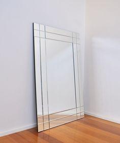 Infinity Lighted Wall Mirror wood triangle mid century modern ...