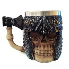Creative Vessel Skull Knight Mug Double Wall Stainless Steel 3D Skull Cup Hot