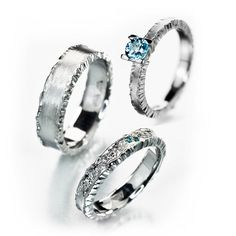 Ice Rings with blue and clear diamonds and a beautiful blue aquamarine