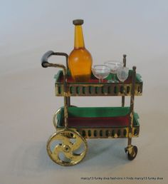 """1964 Ideal Petite Princess Rolling Tea Cart w Removable Trays, Cups ++ 4424-8 - 1964.  This is model number 4424-8, Rolling Tea Cart Set. The set is  complete,  with plastic decanter & 3 plastic glasses. The trays are removable. Cart   measures 1-3/4"""" tall to give you an idea of size. Z"""