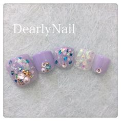 Pretty Toe Nails, Cute Toe Nails, Shiny Nails, Pretty Toes, Toe Nail Art, Best Nail Art Designs, Toe Nail Designs, Cute Pedicures, Korean Nails