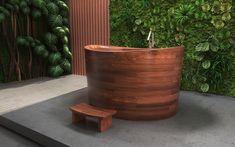 Aquatica True Ofuro Duo Wooden Freestanding Japanese Soaking Bathtub #Ofuro #FreestandingBathtub #Japanesebath #soakingtub #woodenbathtub
