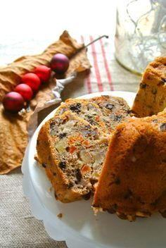 """Wonderful, not-to-sweet, just right """"fruitcake"""" or """"cake-with-fruit"""" for the Season. Recipe & Story at: www.foodonfifth.com"""
