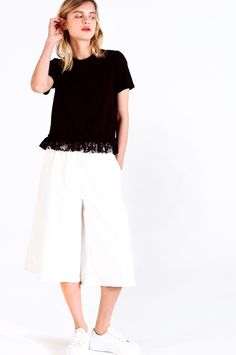 EDIT The Brand PS16 Resort Collection - Black T Shirt with Lace Ruffle // White Denim Culottes