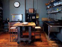 Repurposed Potable Island In An Industrial Grade Kitchen