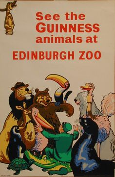 Guinness Beer Poster by Gilroy - Beautiful Vintage Posters Reproductions. This vertical English beer poster features animals (lion, bear, alligator, ostrich, pelican) gathered around the zoo keeper. See the Guinnes animals at Edinburgh Zoo. Vintage Wine, Vintage Ads, Vintage Posters, Vintage Prints, Vintage Designs, Guinness Advert, English Beer, Wine Poster, Pin Up
