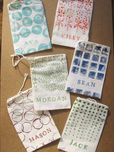 pewter+sage: DIY Hand-Stamped Favor Bags