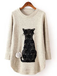 Beige Long Sleeve Cat Pattern Twisted Ball Sweater EUR€24.61