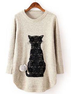 Beige Long Sleeve Cat Pattern Twisted Ball Sweater EUR€24.61