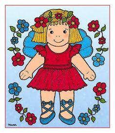Karen`s Paper Dolls: Doll and Bear Postcards to Print in Colours. Dukke og bamse postkort til at printe i farver.