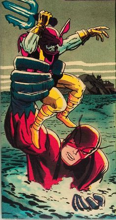 Attuma in the grip of Giant Man from Avengers by Jack Kirby