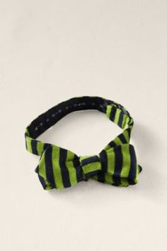 A knit, silk, diamond-shaped bowtie in navy and bright green stripes? I don't think there is any way to improve this.      Men's Silk Knit Striped Bowtie  from Lands' End Canvas #landsendcanvas