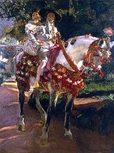 Elena and Maria, the Painter's Daughters, on Horseback in Valencian Period Costumes  (1908) Joaquin Sorolla Y Bastida