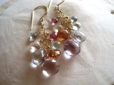 Multi gemstone cluster earrings gold dangle by KahiliCreations