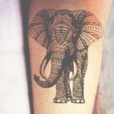 Elephant Tattoo with Henna pattern