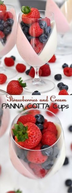 Strawberry and Cream Panna Cotta Fruit Cups Let's give a new shape to the classic Italian panna cotta with these beautiful pink and white cups filled with lots of fresh fruit Italian Desserts, Italian Recipes, Dessert Cups, Dessert Recipes, Cup Desserts, Fresh Fruit Desserts, Dishes Recipes, Desserts Panna Cotta, Fruit Cups