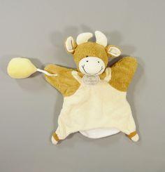 Doudou hochet plat marionnette vache velours écru marron Doudou et Compagnie