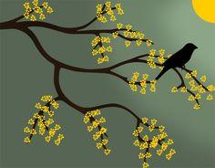 Desenho de galho de árvore + pássaro + flores amarelas. Branch clipart,   tree clipart, tree vector,