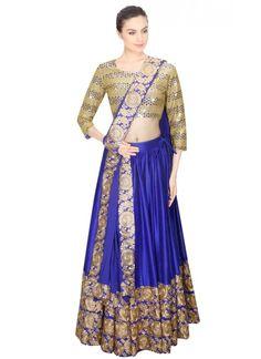 New Blue & Cream Heavy Embroidered Lahenga Choli