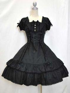 Short Sleeve Floral Jacquard Flared Dress (Black)