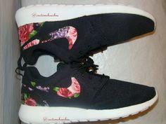 108cb2cf1632 Custom Black Red Floral Nike Roshes