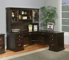 Furniture: Beautiful Mainstays L Shaped Desk With Hutch Plus Storage And Computer Set In A Room With Gray Wall And Wooden Floor Plus Gray Carpet