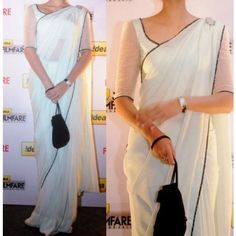 Shop Online Chiffon White Plain Bollywood Designer Saree - S0018 @ Rs.777 at Indiarush. Best Discount ✓ Cash on Delivery ✓ Free Shipping✦ ✓14 Days Return ✓ All India Shipping. Bollywood Designer Sarees, Bollywood Saree, Ethnic Fashion, Indian Fashion, Women's Fashion, Saree Color Combinations, White Sari, Saree Jackets, Sari Design