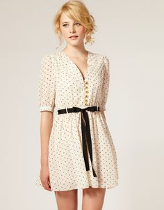 Dahlia Heart Print Chiffon Dress - $106.88 - love the print, the belt, the buttons...