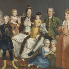 David George van Lennep Senior Merchant of the Dutch Factory at Smyrna, and his Wife and Children, Antoine de Favray (attributed to), 1769 - 1771 - Rijksmuseum Old Portraits, Portrait Art, Family Portraits, Historical Art, Historical Clothing, Rococo Fashion, 18th Century Fashion, Digital Museum, Collaborative Art