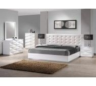This bedroom set offers a fresh aim and outlook of the modern bedroom. With case goods featuring unique 3D surfaces, this white lacquered finish set will enhance the look of bedrooms of different sizes and colors. The leatherette headboard provides elegance as well as a classic look to the bedroom set. http://www.euro-concepts.com/shop-categories/bed-room-furniture/modern-european-wood-beds/modern-euro-design-bed-jm009.html