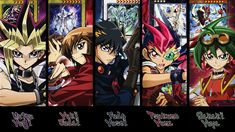 This is a picture of all the main characters of the five yugioh series. All the characters are put into order from oldest to the newest series. It starts off with yugi, judai, yusei, yuma, and yuya the most latest.