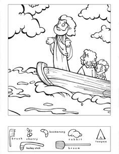Jesus Calms the Storm Hidden Puzzle-many other bible based hidden picture coloring sheets