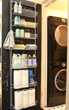 Over the Door Laundry Storage, 20 Laundry Room Organization Ideas via A Blissful Nest