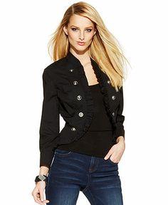 INC International Concepts Ruffle-Front Military Jacket - Jackets & Blazers - Women - Macy's