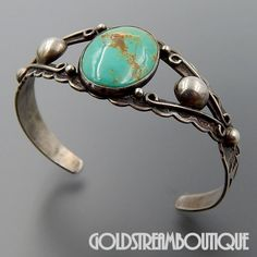 Native American FRED HARVEY ERA NAVAJO STERLING SILVER TURQUOISE TOP COIN SILVER CUFF BRACELET