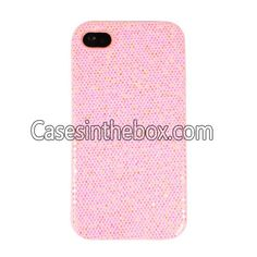 Pink Magnificent Glittery Evening Dress Pattern Faux Leather Coated Back Case Cover for iPhone 4/4S