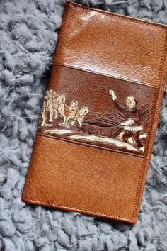 6b9b36b2bfd9 Tooled leather wallet -unique wallet -Inuit with Huskies -retro leather  wallet -vintage leather - tooled leather - mushing - detailed wallet