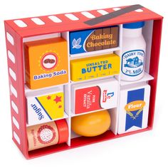 A nifty all-in-one set that includes every basic ingredient an aspiring baker could need. A fab addition to any play kitchen, this ideal Christmas gift promotes pretend play, growing imagination and developing social skills. Let's Get Baking! Play Food Set, Pretend Food, Pretend Play, Wooden Play Food, Wooden Toys, Baby Dolls For Kids, Baking Set, Toy Kitchen, Dramatic Play