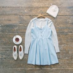Layering up the light spring knits. Button front denim pinafore dress and simple round neck soft jumper online now. beanie hat and made-to-measure shoes online soon. ⛅️❄️  www.oliveclothing.com