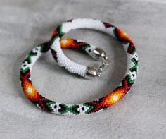 White Folk Handbeaded Necklace Slavic Folk Inspired Necklace
