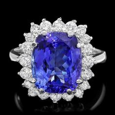 Gemone Diamond offer diamond tanzanite white gold ring with 5.78 Ct natural tanzanite gemstone at an affordable price. Shop 24/7 online. Free shipping.