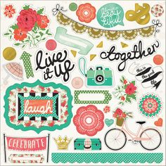My Minds Eye-Jubilee Mint Julep Chipboard Elements: Live It Up. A fun 3D look to add to all your paper crafting projects! This package contains one 12x12 inch sheet with forty-four adhesive chipboard pieces. Acid and lignin free.