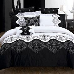 Roshni 3-Piece Duvet Cover Set In White And Black by french_chateau