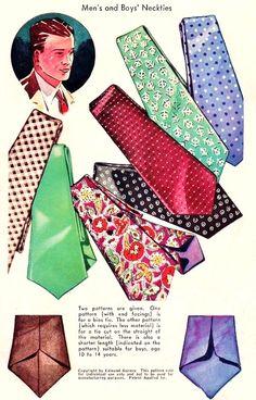 1930s Art Deco Gentlemens and Boys Neckties Pattern McCall 518 Mens Ties Includes Bias Tie Version One Size Vintage Sewing Pattern