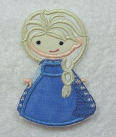 Princess Elsa from Frozen Cutie Fabric Embroidered Iron On Applique Patch Ready to Ship $8.10