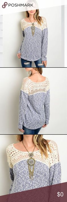 Blue and Cream Heathered Sweater Indigo blue heather loose-fitted sweater with cream crocheted details. Pair with jeans and boots for a stylish Fall look. Sweaters Crew & Scoop Necks