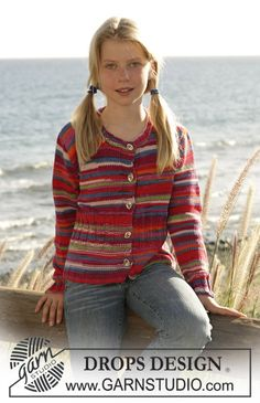 """DROPS cardigan with Rib knitted in """"Muskat soft. ~ DROPS Design"""